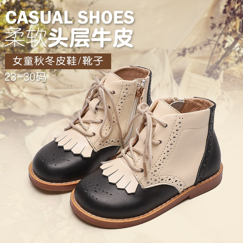 Dolakids الراقية الفتيات الأحذية اليدوية جلد البقر الأحذية للأطفال ليتل الأميرة حذاء من الجلد عدم الانزلاق الأحذية أحذية من الجلد
