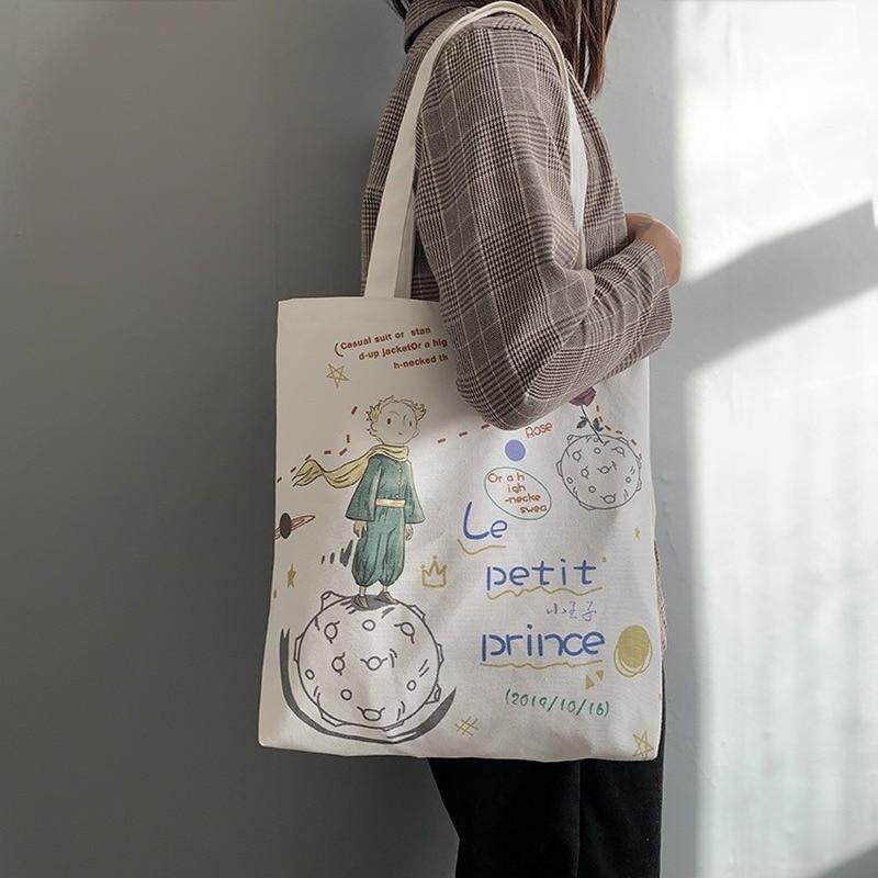 Women's Canvas Tote Bags Korean Students Shoulder Cloth Shopping Bag Eco Foldable Female Handbag for Girls Beach Shopper Bag