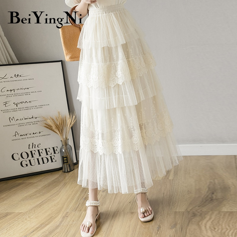 Beiyingni Lace Tulle Skirt Women Solid Summer Long White Black Tutu Skirts A Line Skirt Laides Elegant High Waist Elastic Faldas