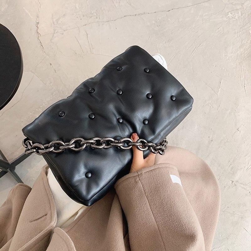 Women Handbags New Shoulder Bag Large Capacity Female Black Joker Chain Texture Portable Small Squar
