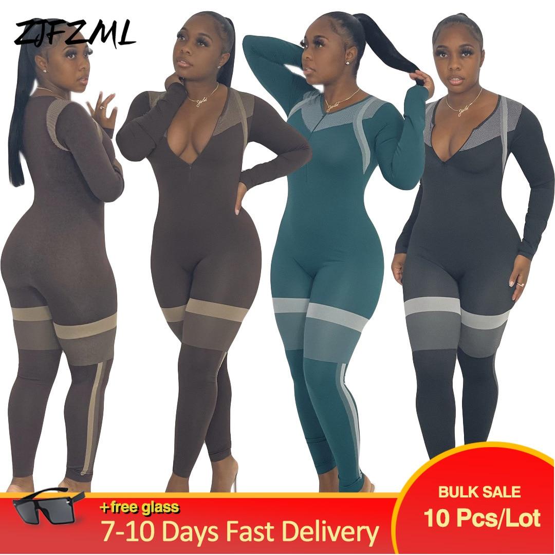 Bulk Lots Wholesale Items Women Color Block Fitness Slim Romper Casual Zipper Up Long Sleeve Jumpsuit Autumn Running Club Outfit