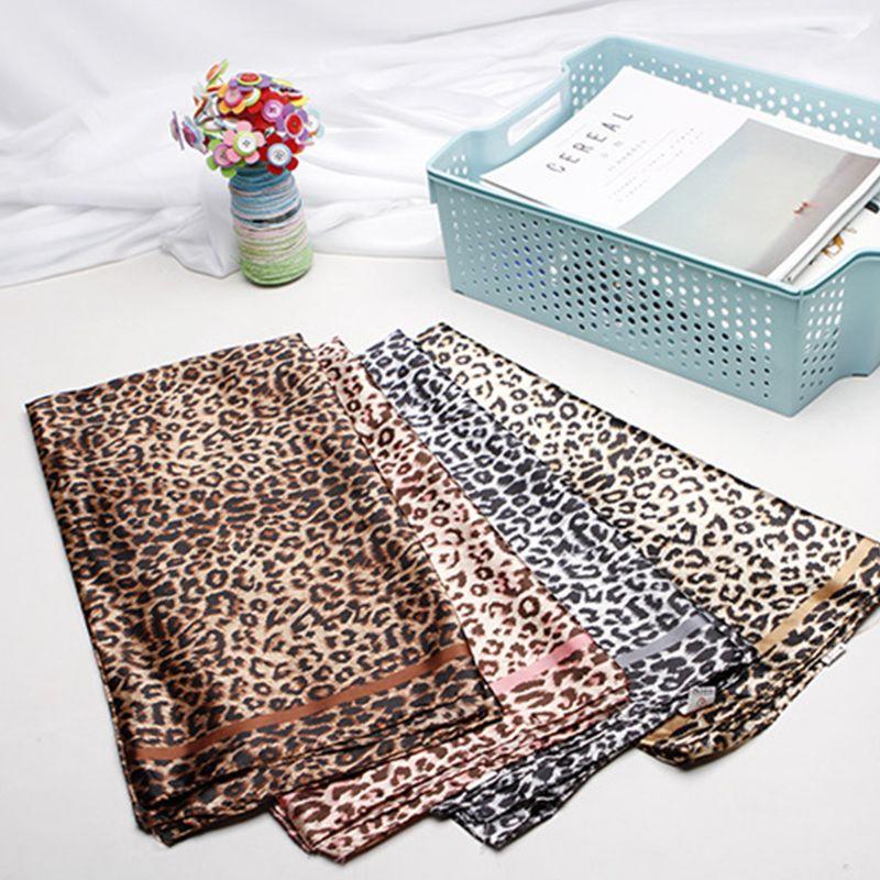 Bufanda cuadrada elegante de seda falsa étnica para mujer, pañuelo Vintage estampado de leopardo para oficina, pañuelo de doble cara con estampado de cinta
