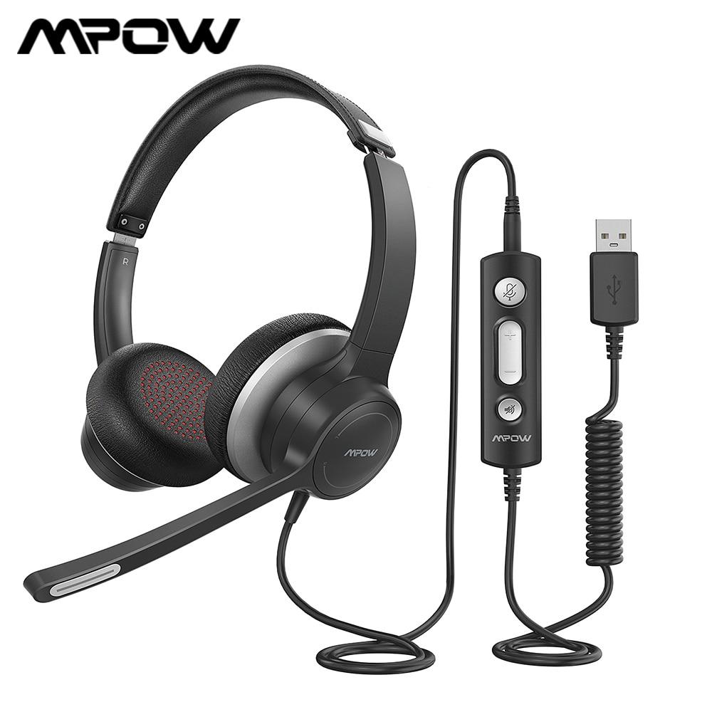 Mpow HC6 مكتب سماعة رأس مزودة بميكروفون BH328 3.5 مللي متر USB سماعة رأس للكمبيوتر الحد من الضوضاء سماعة ل مركز الاتصال سكايب PC الهاتف المحمول