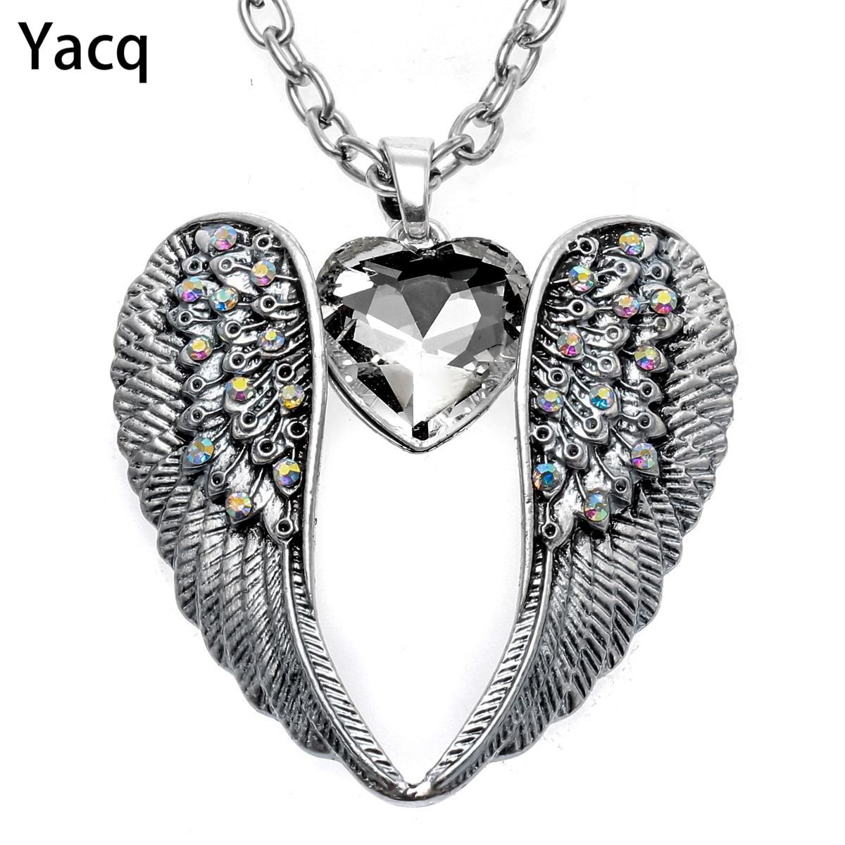 YACQ Guardian ангельское крыло сердце ожерелье античное серебро Цвет для женщин девушек байкерские шикарные хрустальные ювелирные изделия подарки дропшиппинг NC06