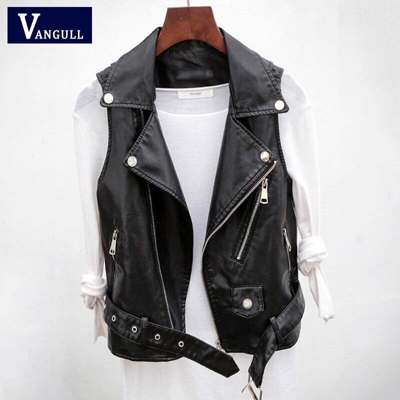 Vangull PU Leather Moto Biker Waistcoat Women Casual Sleeveless High Street Cool Vest Spring Autumn Zipper Turn-down collar Top