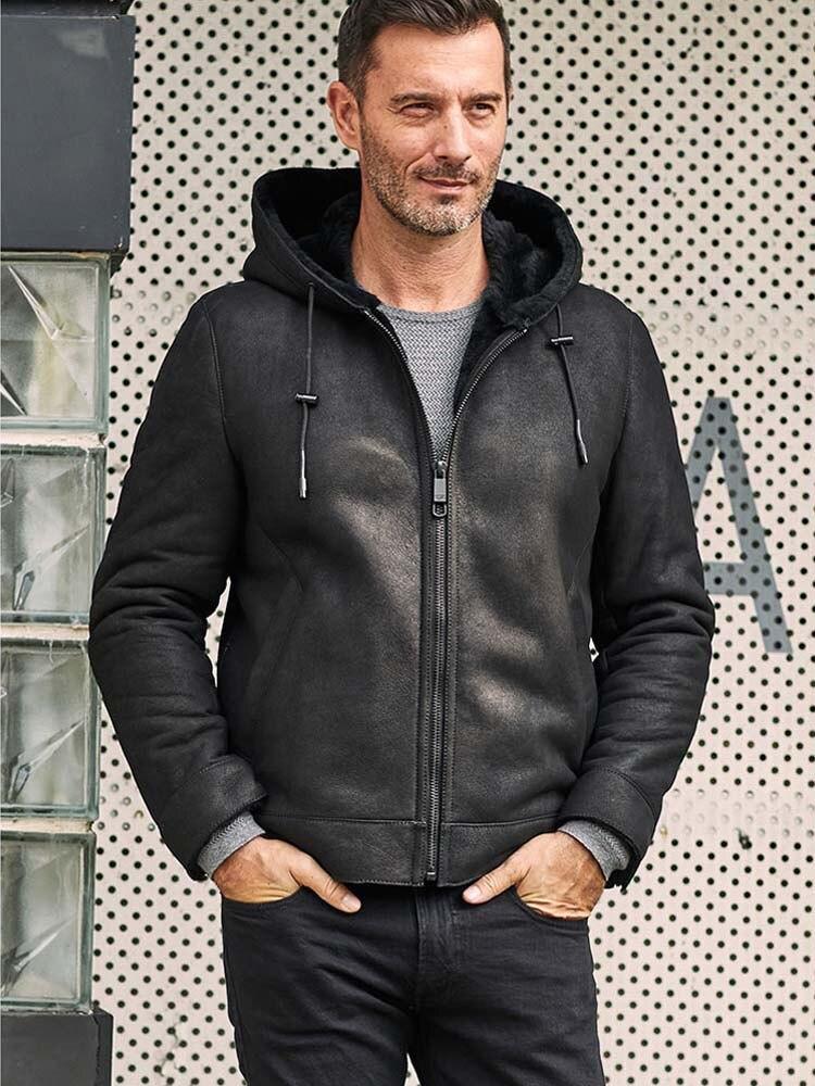 معطف شتوي من جلد الغنم للرجال ، معطف قصير غير رسمي ، مجموعة جديدة
