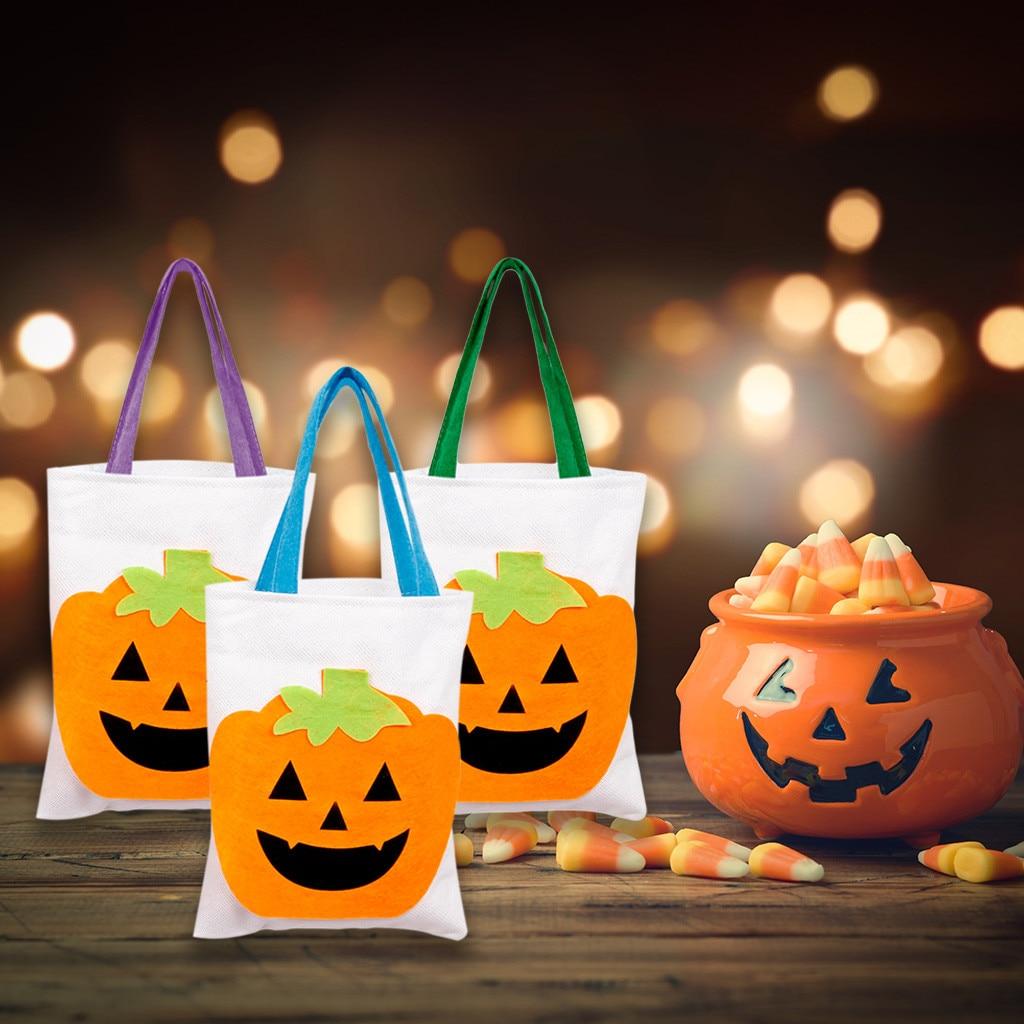 Bolso grande de lona de linterna de calabaza para mujer bolsa grande para llevar regalos de Halloween