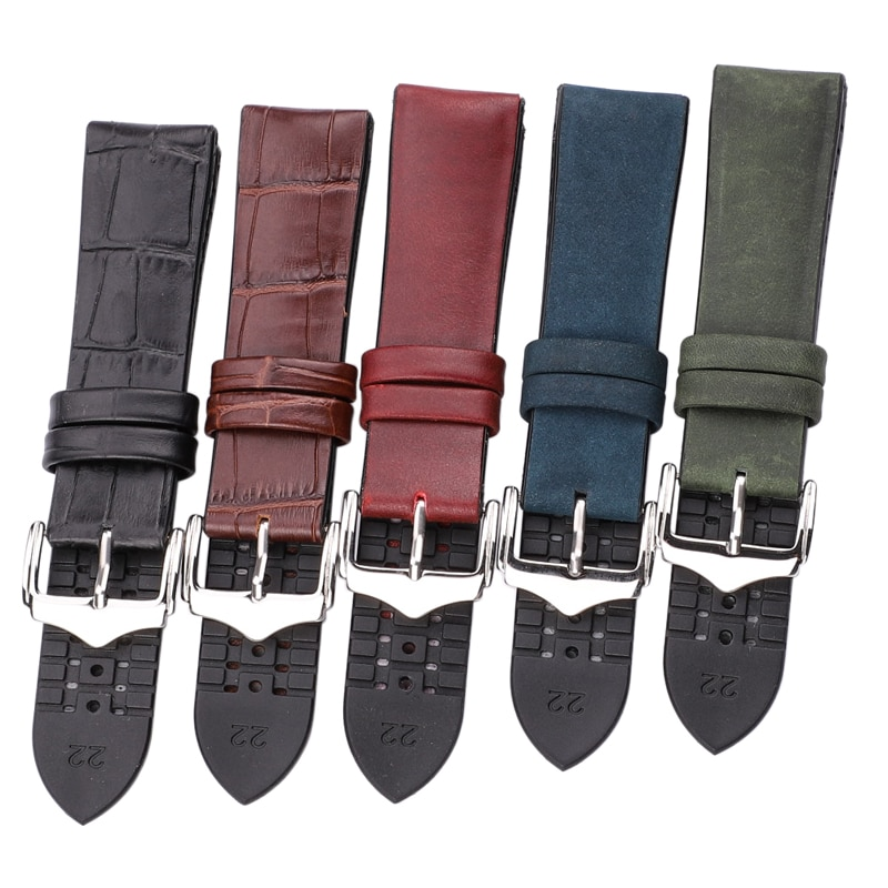 HENGRC Watch Band High Quality Cowhide Genuine Leather Rubber Watch Strap Bracelet 18mm - 24mm Women Men Watchbands