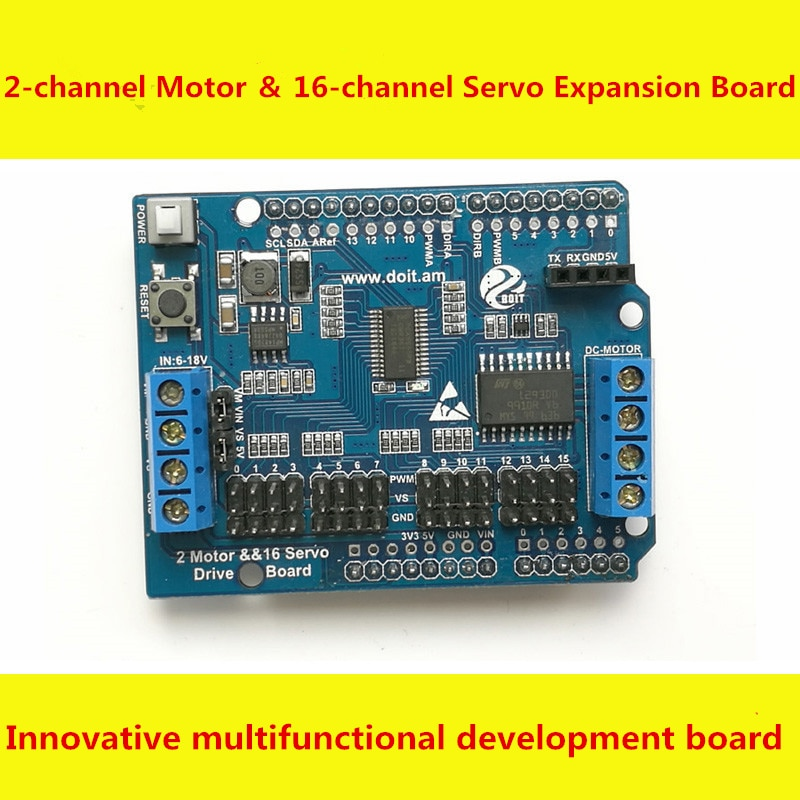SZDOIT 2 channel Motor & 16 channel Servo Controller Expansion Board Servos Motors Control Module Drive Board for Arduino