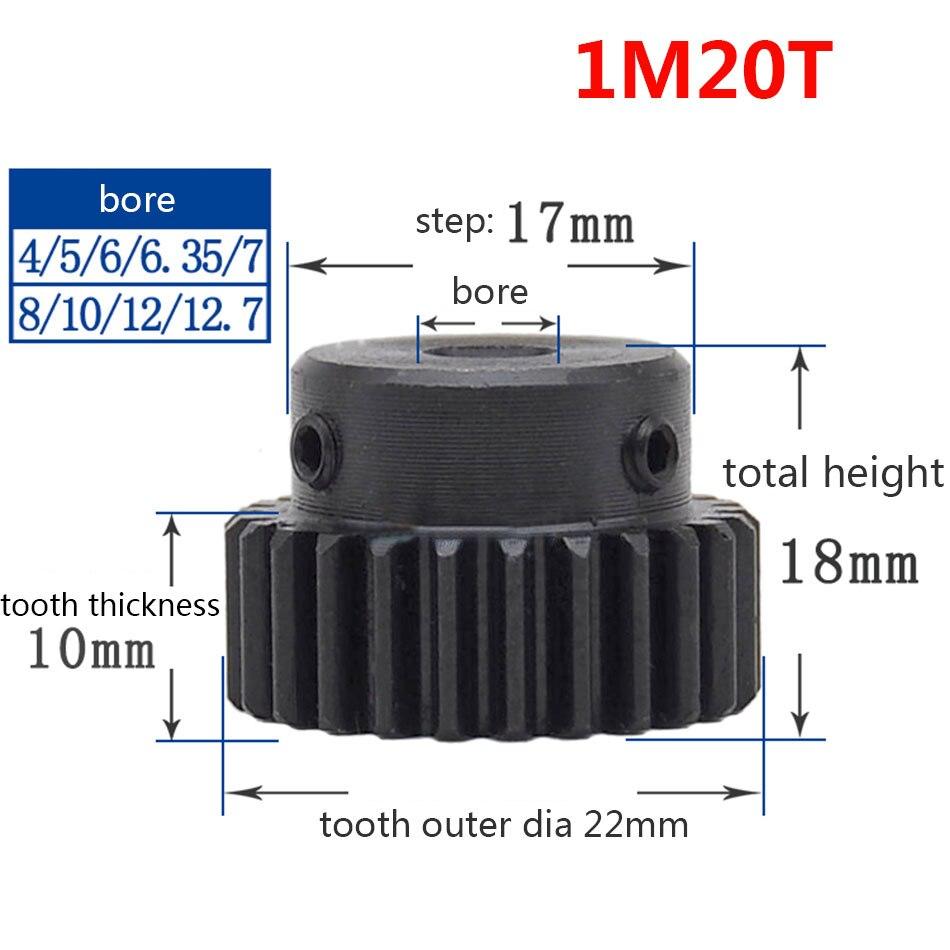 1/2/5/10/20 piezas 1M 20T espolón engranaje piñón diámetro 10mm paso 17mm superficie engranaje negro con módulo paso 1 diente 20 diámetro exterior 22mm