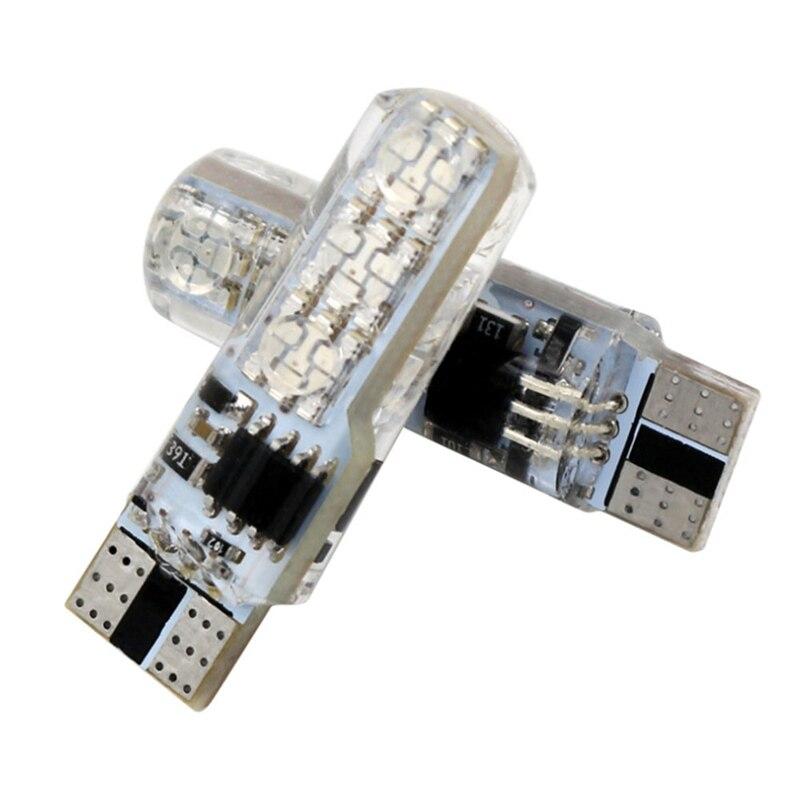 DJSona 2 uds/1 juego 12V LED T10 5050-6SMD LED Auto coche RGB LED Interior Domo lectura cuña luz estroboscópica bombilla Con mando a distancia