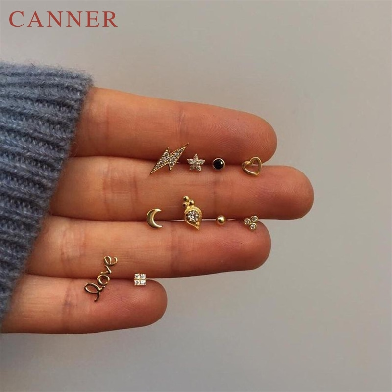 Pendientes sencillos minimalistas con diseño de rayo/serpiente/mariposa de oro para mujer, pendientes de plata de ley 925 con circonita, joyería moderna para oreja