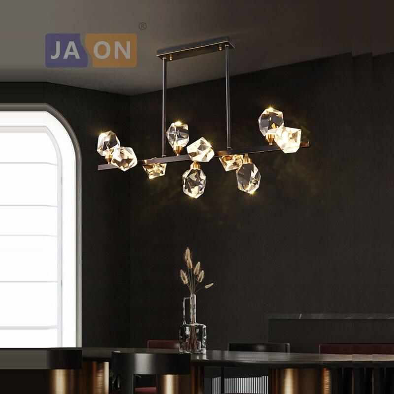 الكريستال النحاس الأسود مصابيح معلقة LED أضواء الثريا بريق تعليق الإنارة Lampen لغرفة الطعام