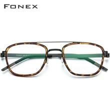 FONEX-lunettes optiques myopie   Lunettes en alliage dacétate, Vintage carré montures femmes Prescription sans vis 98628