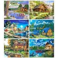 MTEN     peinture de diamant 5D avec perceuses carrees ou rondes  broderie de paysage  mosaique  decoration de maison  cadeau dart mural  bricolage