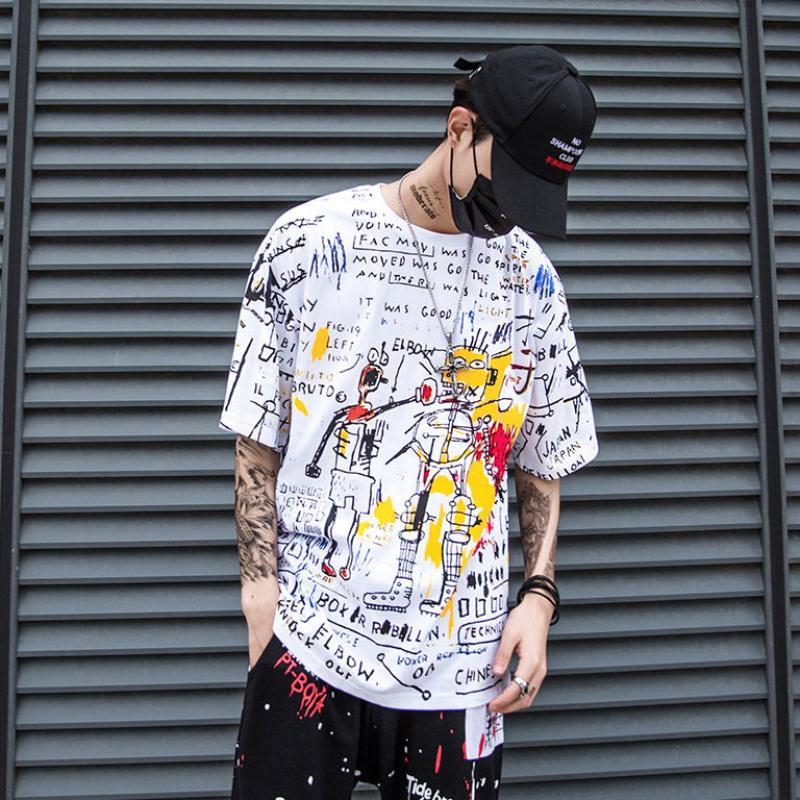 Zomer Hip Hop Casual Tops Streetwear 2021 Nieuwe Chinese Stijl Mannen T-shirts Lucky Gedrukte Korte Mouwen T-shirts