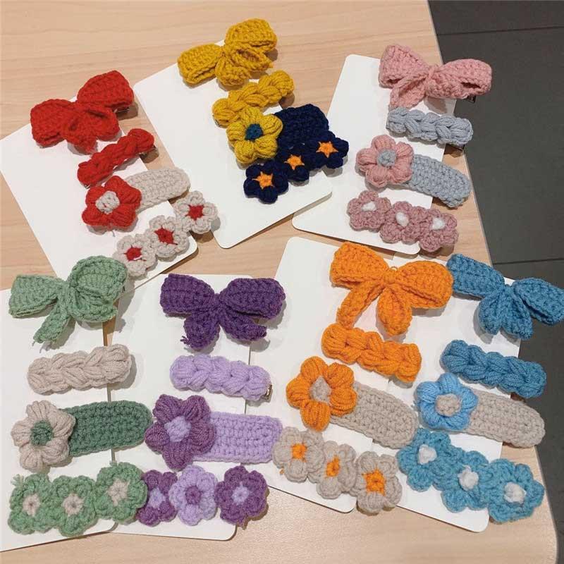 4 unids/set colorida Flor de pelo Clips bordado lana Color caramelo horquillas...