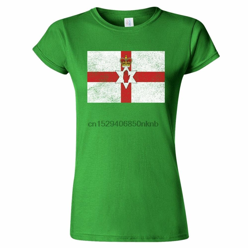 NORTHERN IRELAND DISTRESSED LOOK FLAG WOMENS T SHIRT SPORT FOOTBALL NATIONAL