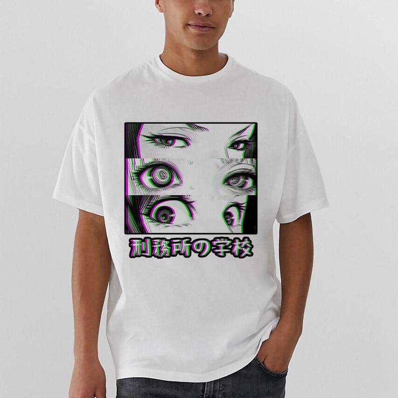 Prison School Sad Japanese Girl Eyes T Shirt Men/women Anime Comic  Tops Streetwear Hiphop Harajuku Manga Funny Tshirt Men