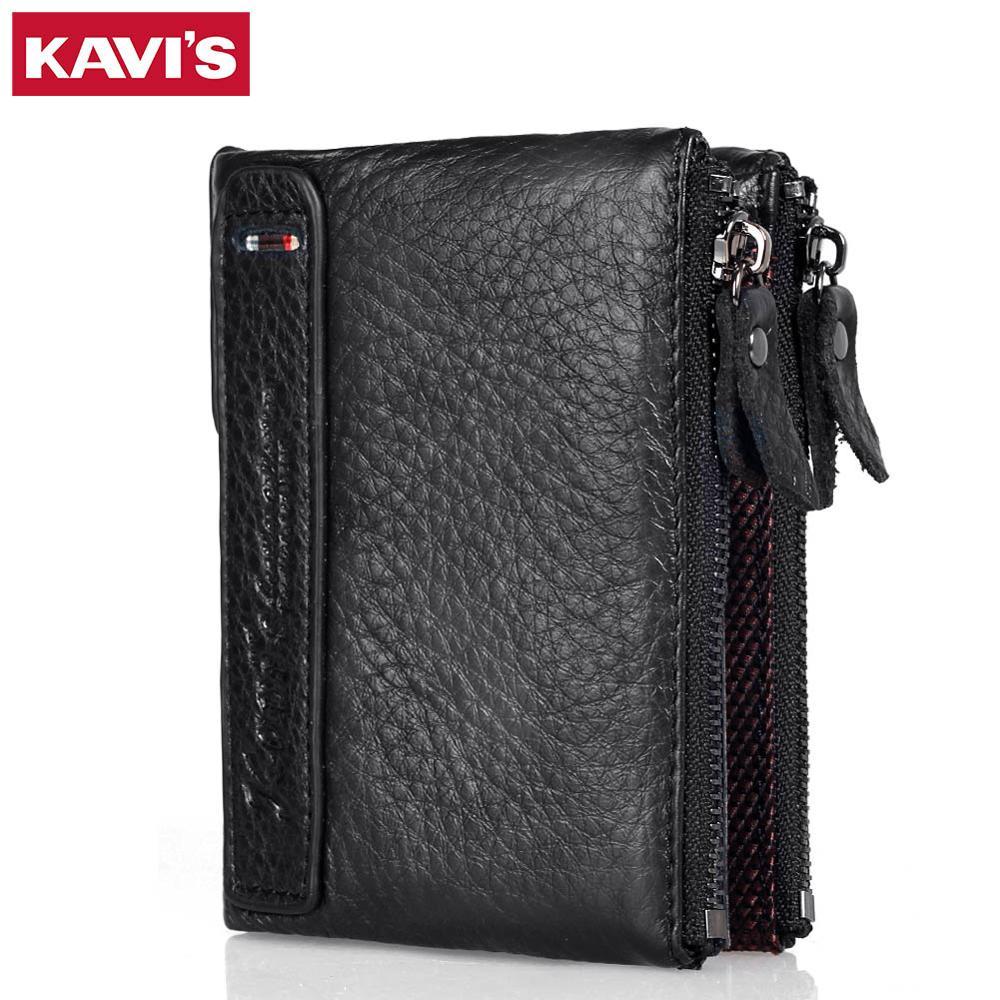 Kavis 100% carteira de couro genuíno dos homens pequenos zíper walet portomonee masculino curto moeda bolsa marca perse carteira para rfid
