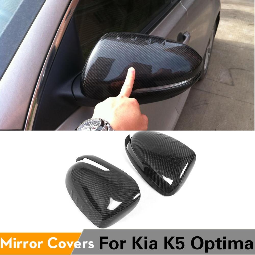 De fibra de carbono cubiertas para espejo retrovisor lado tapas de alas etiqueta engomada del coche para Kia Optima K5 2011 - 2015 agregar estilo