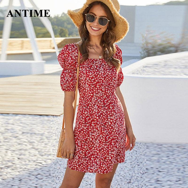Antime Summer Women Casual Sundress Mini Dress Tunic Beach Half Lantern Sleeve Square Neck Party Floral Print Dresses