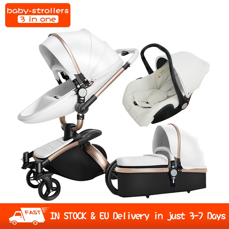 baby stroller 3 in 1 free shipping Branded baby carriage eco-leather baby carriage euro style car seat basket cradle