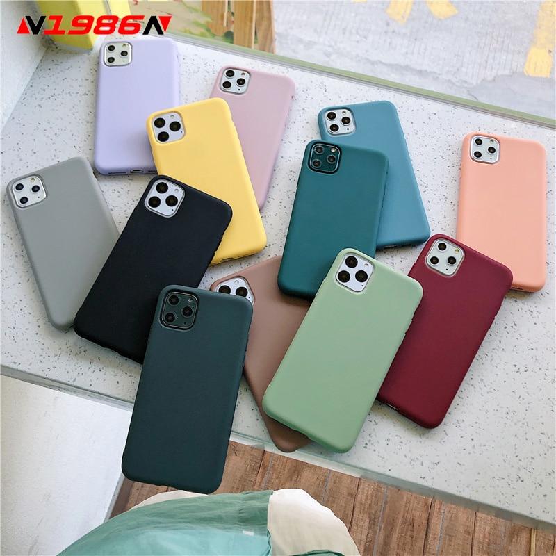 N1986n capa colorida de doce para iphone 11, pro x xr xs max 6 6s 7 8 plus moderna simples silicone macio para iphone se 2020, cor sólida