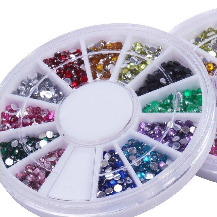 50Packs/Lot 12 colors/wheel Rhinestone Acrylic UV Gel Nail art - 2MM Round Rhinestone Nail Art Glitter Decoration UV Gel Nail
