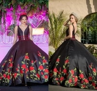 black plus size ball gown quinceanera dresses satin with rose embroidery v neck straps lace up back formal pageant gowns