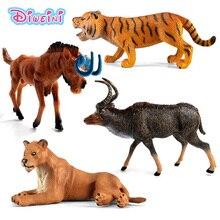 Zoo simulation animaux modèles figurines ours cerf tigre léopard Lion loup éléphant chevaux vache statue Animation Figurine jouet en plastique
