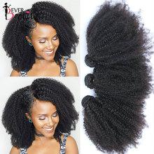 Mongolian Afro Kinky Curly Bundles With Closure 4B 4C Human Hair Extensions Virgin Human Hair Weave