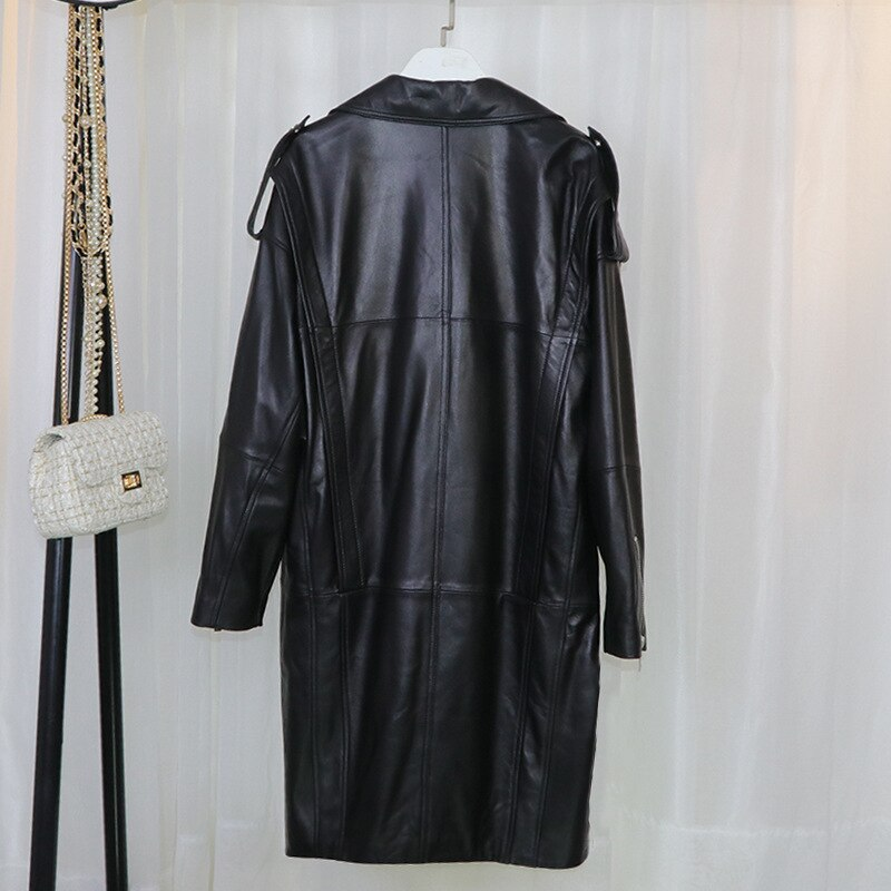 Autumn and winter new medium and long loose Korean locomotive wear, and enlarged leather coat, same for men and enlarge