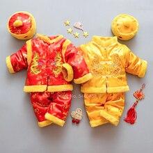 От 0 до 2 лет новогодний Традиционный китайский костюм Тан для новорожденных мальчиков и девочек с принтом дракона, зимний флисовый меховой ...