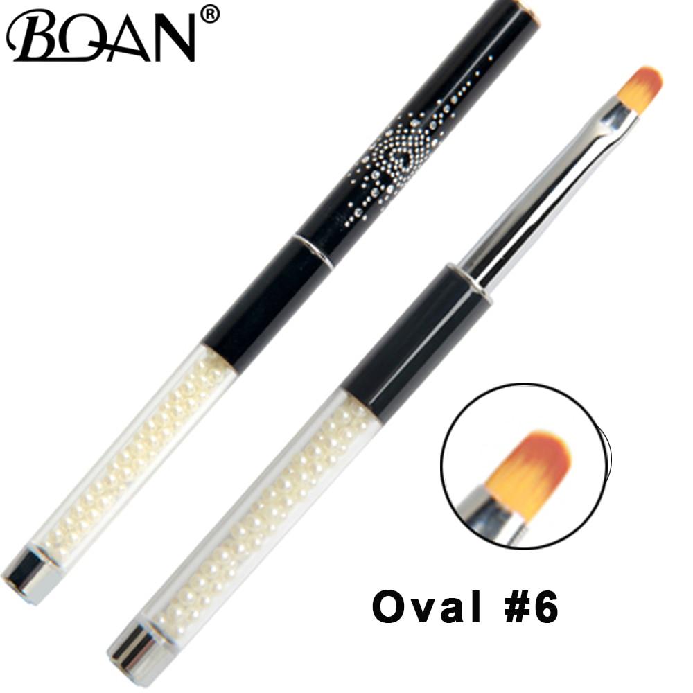 BQAN manicura perla Oval pintura acrílico pintura de uñas de Gel con brillos abrigo extensión 3D línea red pétalo francés cepillo de uñas