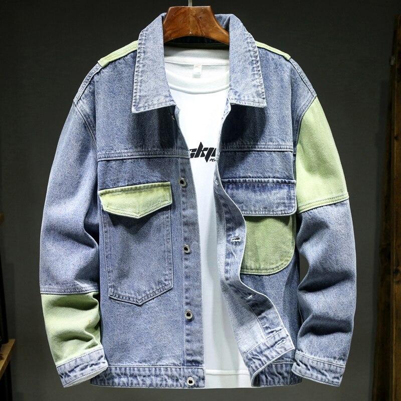 جديد الرجال الملابس بألواح ضئيلة الدنيم سترة الموضة الأزرق الأخضر خياطة فضفاضة عادية مريحة الذكور الجينز البضائع سترة معطف