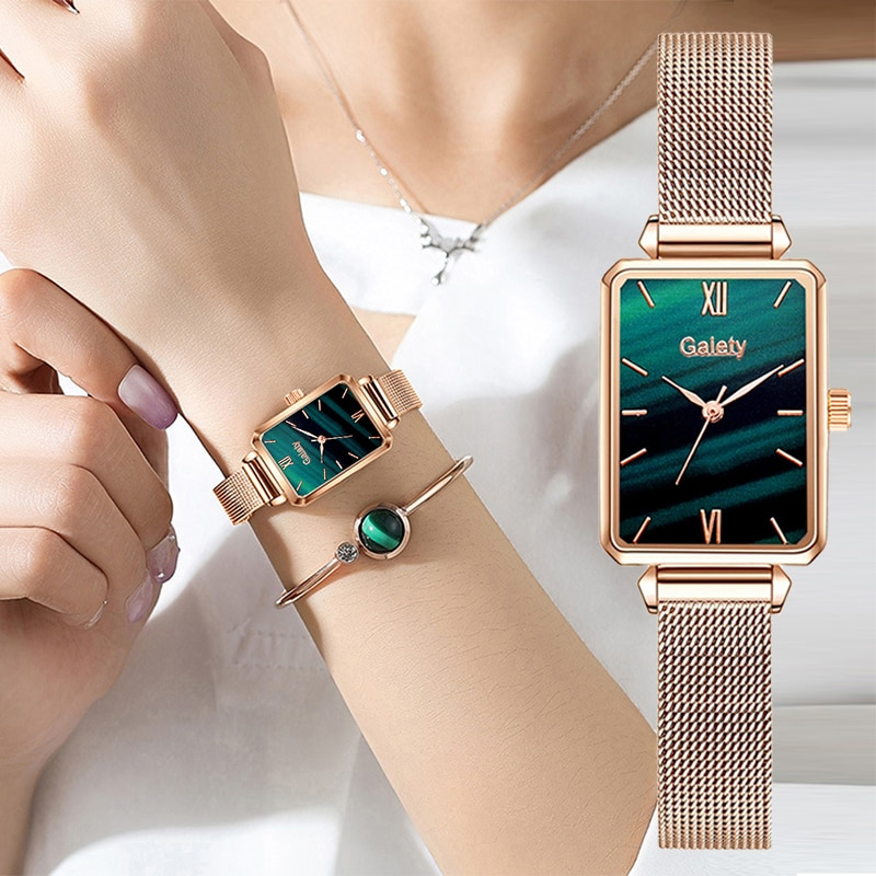 Gaiety Brand Women Watches Fashion Square Ladies Quartz Watch Bracelet Set Green Dial Simple Rose Gold Mesh Luxury Women Watches