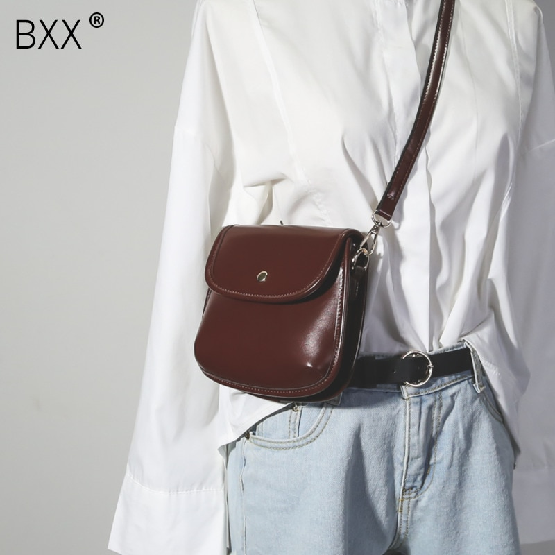[BXX] 2021 Spring Summer Stylish New Brown Color Single Strap Cover Button PU Leather Flap Messenger Bag All Match LM433