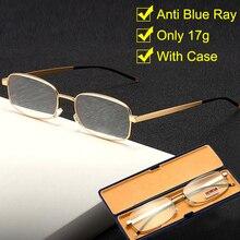 2020 nouveau cadre carré or lunettes de lecture hommes femmes Anti lumière bleue presbyte lunettes avec boîtier métal plein cadre + 1.5