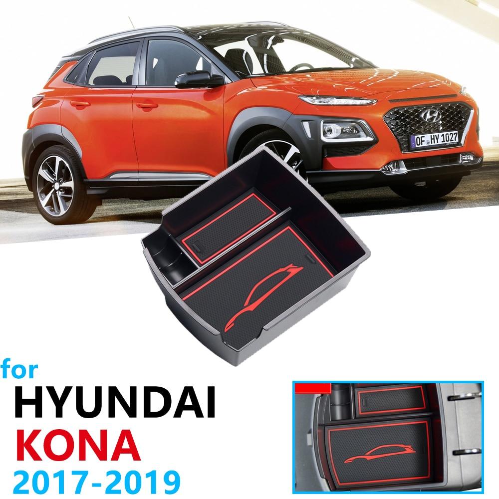 Car Organizer Accessories for Hyundai Kona 2017 2018 2019 Kauai Armrest Box Storage Stowing Tidying Anti-Slip Rubber Accessories