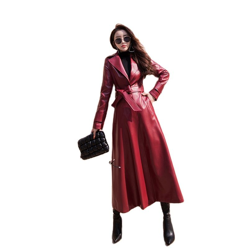 Women's slim fit PU leather Plush thickened coat autumn and winter 2020 new long over knee leather windbreaker Long PU coat