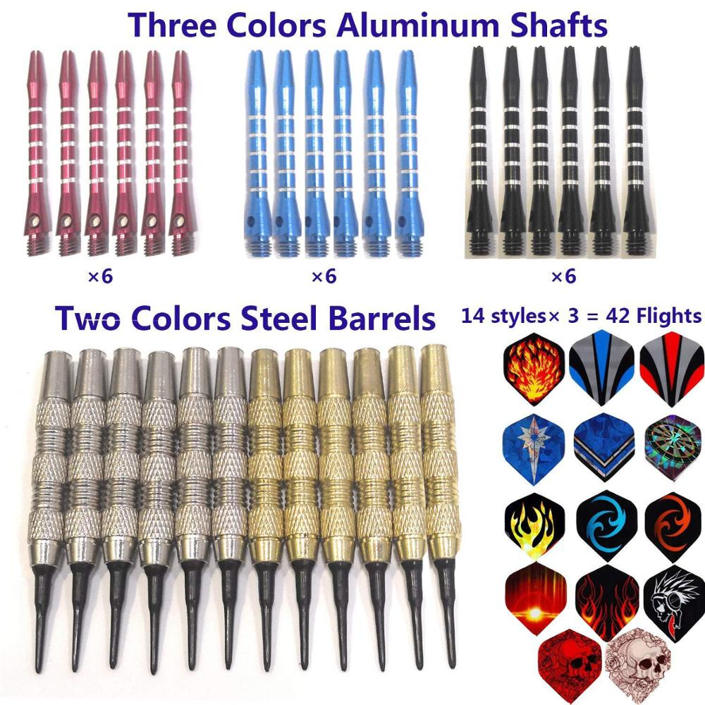 12 darts + 30 tails + 100 heads + another 6 aluminum rods  Professional Steel Tip All metal Darts Flight With Nice Flights Darts