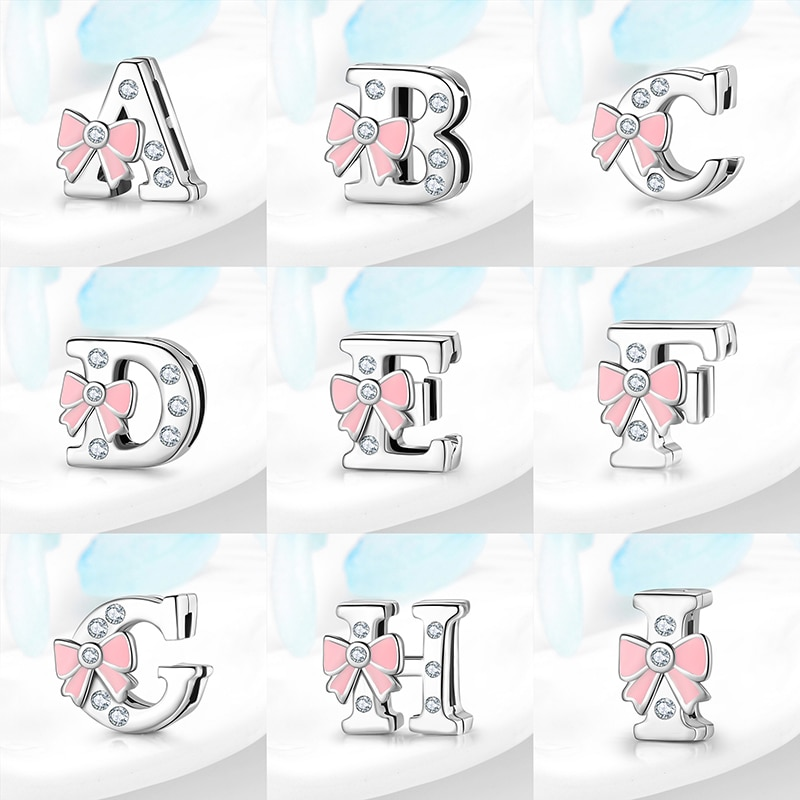 100% Real 925 Sterling Silver A-Z Letra Do Alfabeto Contas Encantos Clipe fit Original Reflexão Relógio Pulseiras Mulheres Jewely Fazer