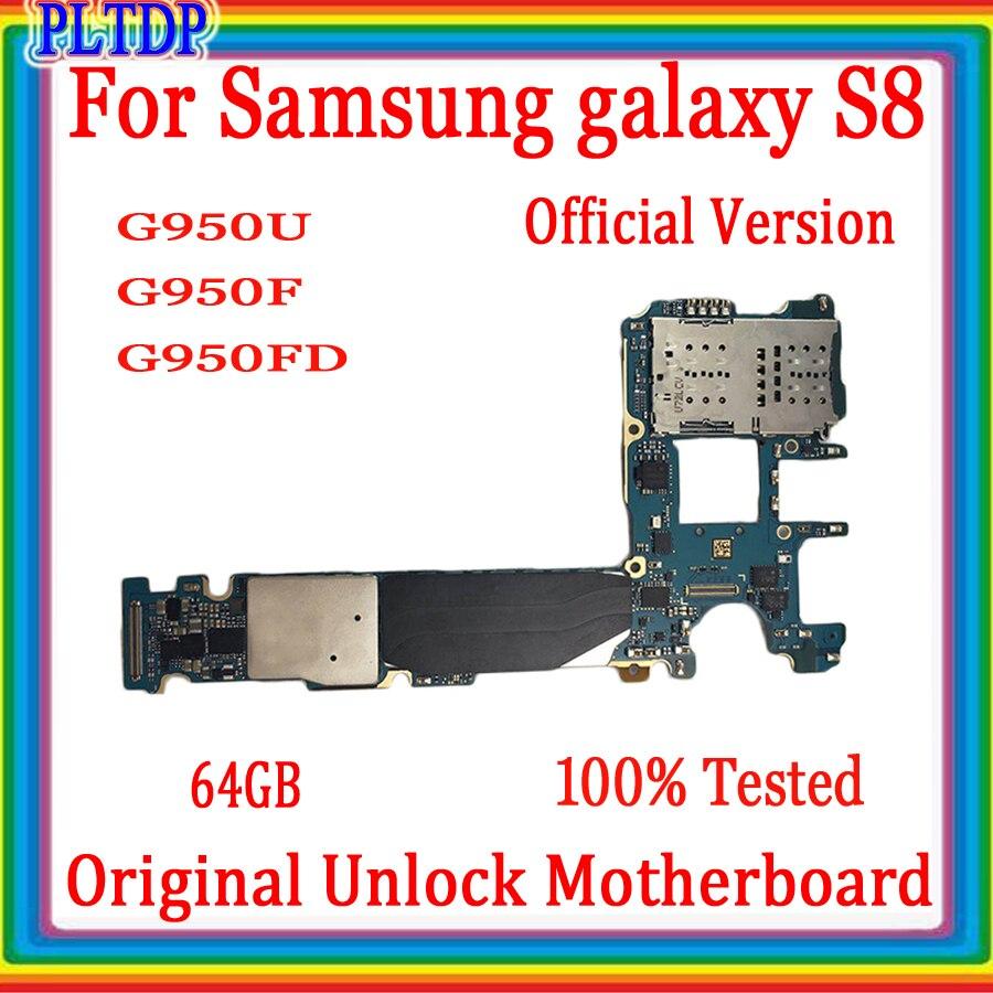 Original desbloqueado para Samsung Galaxy S8 G950U G950F G950FD placa base, 64GB para Samsung G950F con Chips completos, envío gratis
