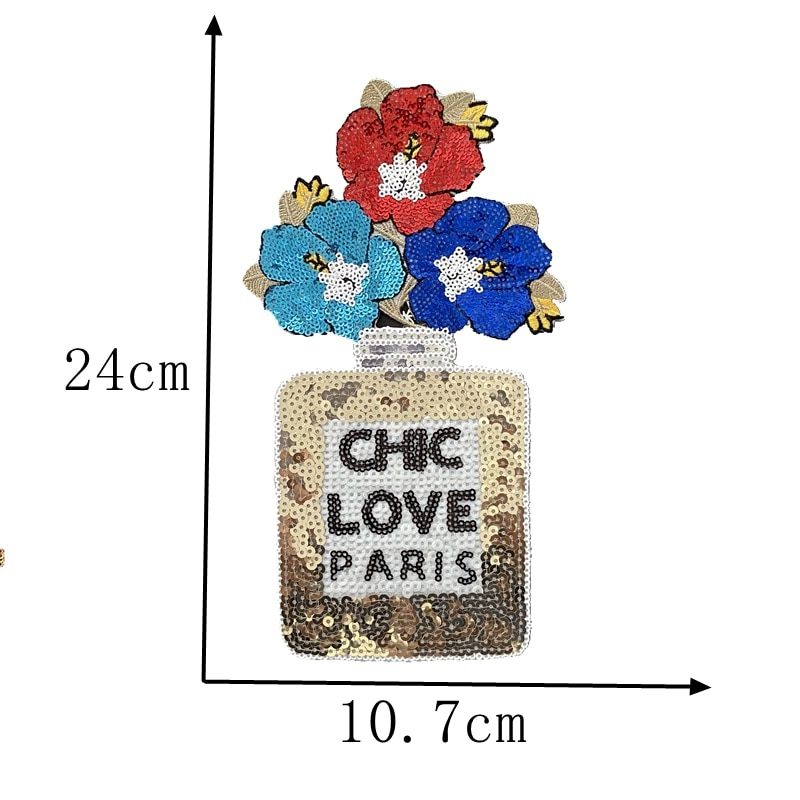 LOVE PARIS-parches de flor de perfume para botella, apliques de hierro sobre...