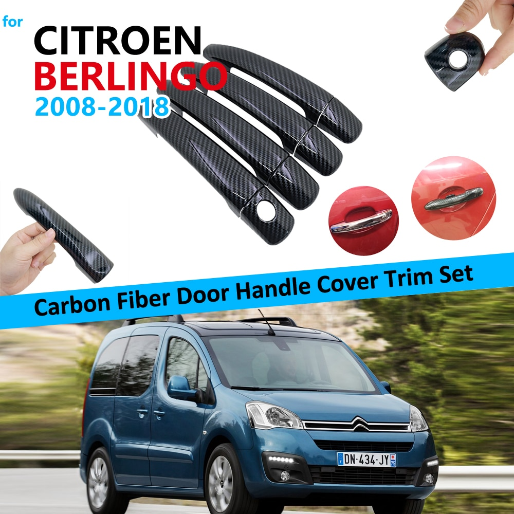 Carbon Fiber Door Handle Cover Trim Set for Citroen Berlingo 2008~2018 Car Accessories 2009 2010 2011 2012 2023 2014 2015 2016