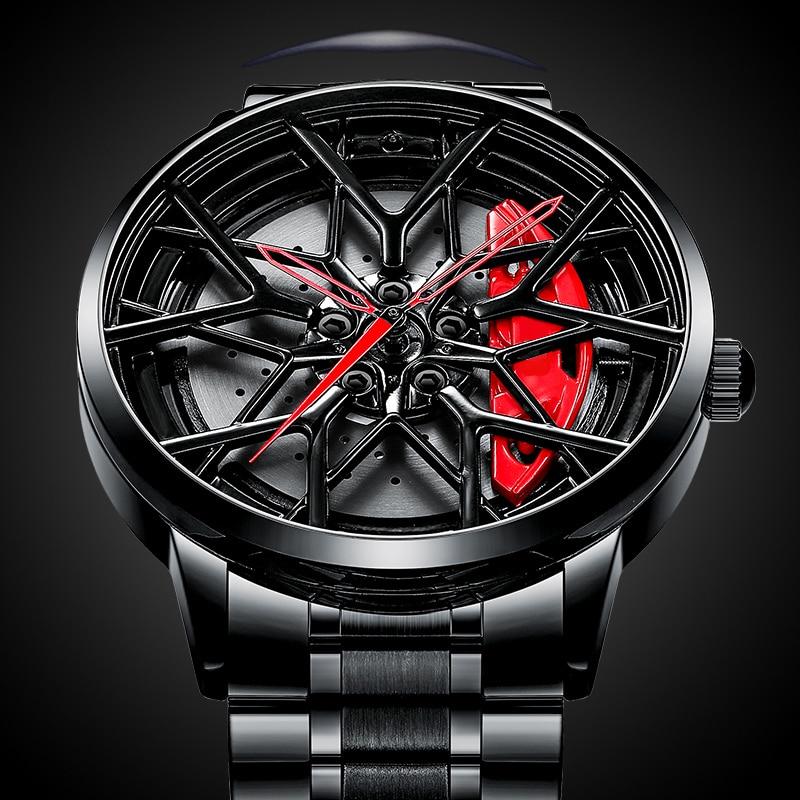 Roda de Carro Relógios dos Homens à Prova Nibosi Assista Men Esporte Design Personalizado Roda Dwaterproof Água Moda Relógios Pulso Relógio Masculino 2021 Aro Hub