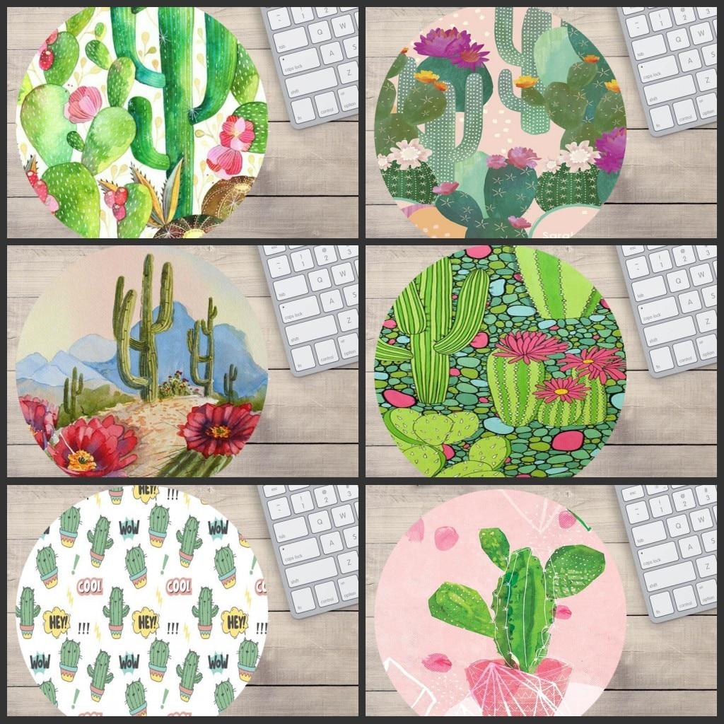 MRGBEST Cactus Comfort 20x20x2MM redondo alfombrilla para el ratón para juegos Pc Teclado Gamer alfombrillas de ratón Gaming escritorio Mat Anime Matmouse Csgo