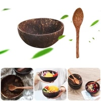 12 15cm natural coconut bowl protection wooden ware vaisselle wood tableware spoon set coco cuencos kitchen environmental bol