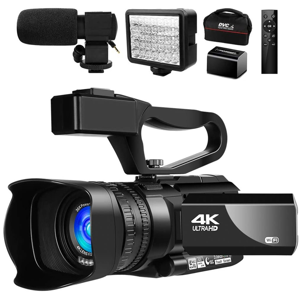 4K Video Camera Camcorder 48MP for YouTube Live Streaming 30X Digital Zoom IR Night Touch Screen Cam